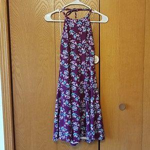 Purple floral halter-top dress, SO